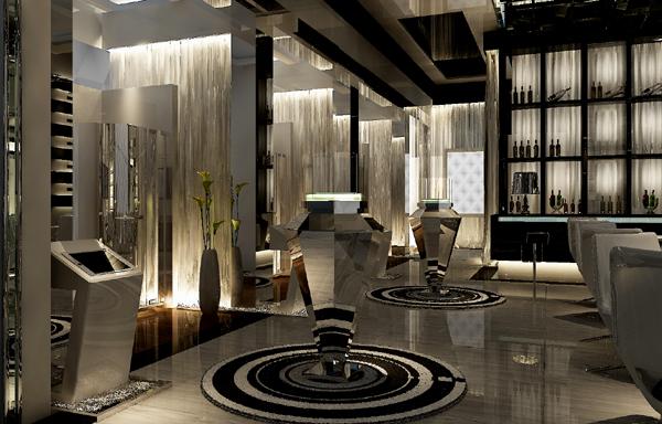 金属感的镜面设计与流线型线条设计备运用于一个空间之中,既丰富了